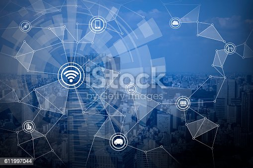 istock smart city and wireless communication network 611997044