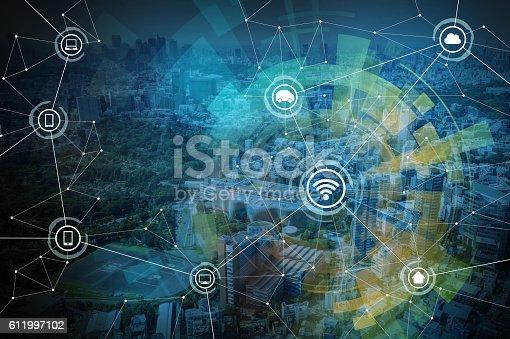611997072 istock photo smart city and wireless communication network 611997102