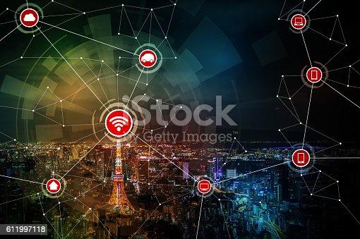 611997072 istock photo smart city and wireless communication network 611997118