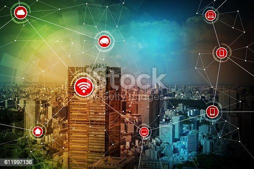 611997072 istock photo smart city and wireless communication network 611997136