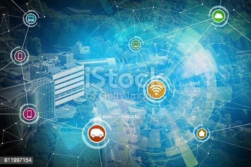 611997072 istock photo smart city and wireless communication network 611997154