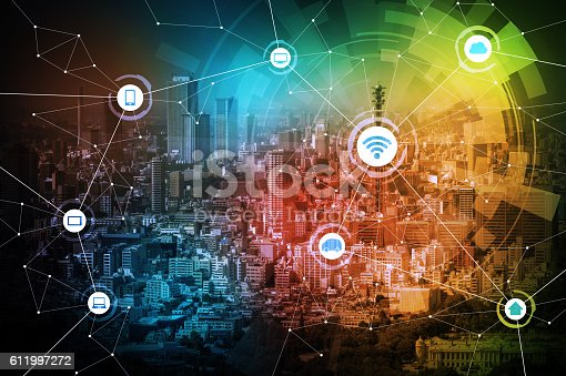 istock smart city and wireless communication network 611997272