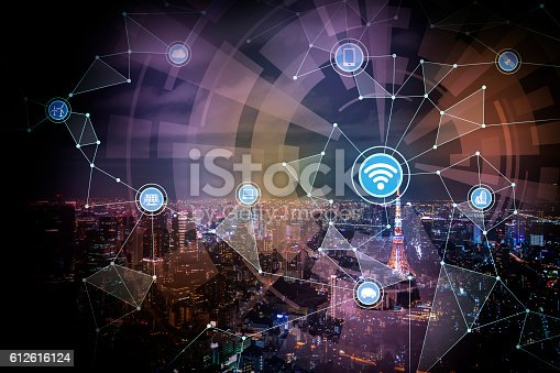 istock smart city and wireless communication network 612616124