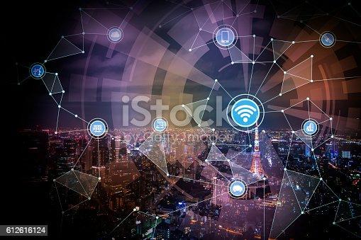 611997072 istock photo smart city and wireless communication network 612616124