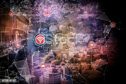611997072 istock photo smart city and wireless communication network 612616142