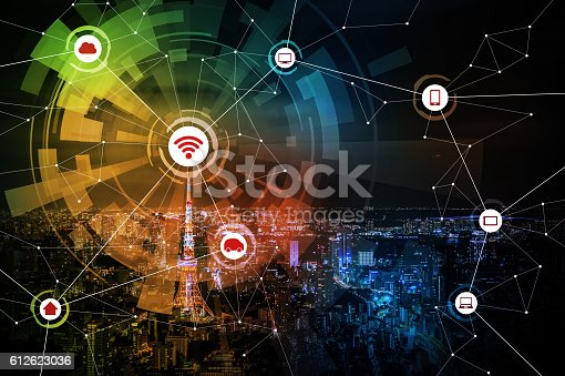 istock smart city and wireless communication network 612623036