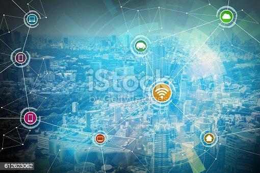 611997072 istock photo smart city and wireless communication network 612623062