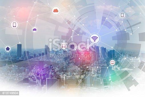 611997072 istock photo smart city and wireless communication network 613749504