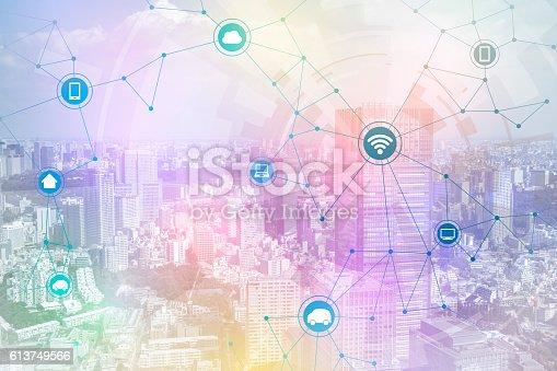 611997072 istock photo smart city and wireless communication network 613749566