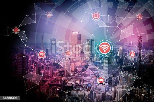 611997072 istock photo smart city and wireless communication network 613880912