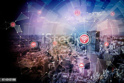 611997072 istock photo smart city and wireless communication network 614343188