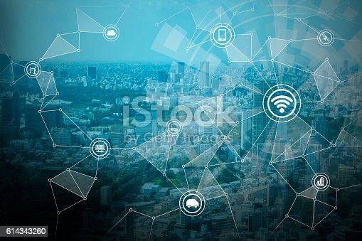 611997072 istock photo smart city and wireless communication network 614343260