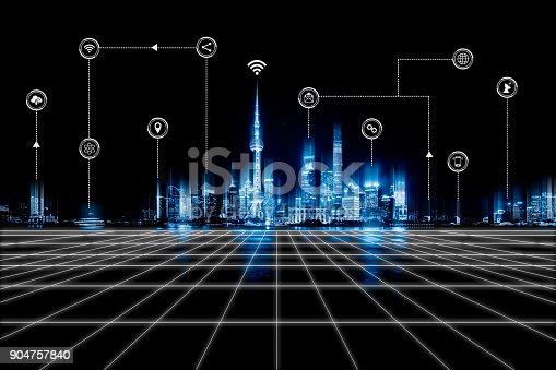 540226428 istock photo Smart city and wireless communication network 904757840
