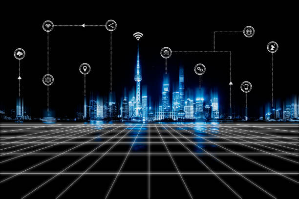 smart city and wireless communication network - smart city stock photos and pictures