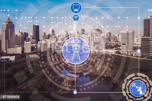 999852584 istock photo Smart city and wireless communication network. 971949404