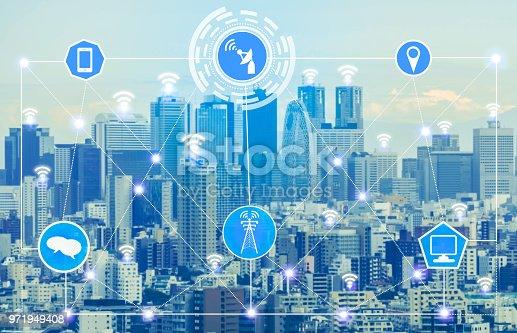 999852584 istock photo Smart city and wireless communication network. 971949408