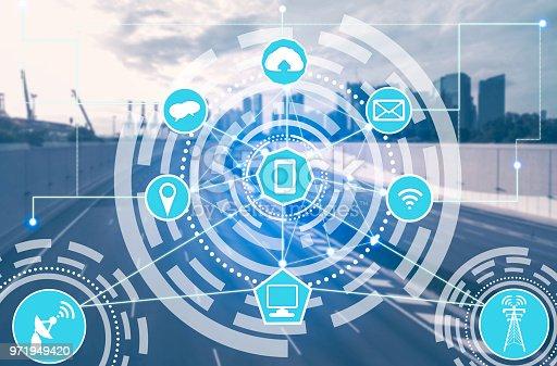 istock Smart city and wireless communication network. 971949420