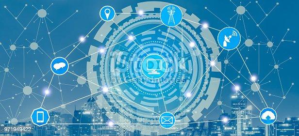 istock Smart city and wireless communication network. 971949422