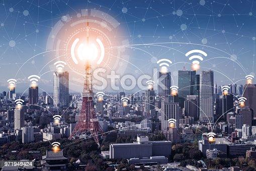 istock Smart city and wireless communication network. 971949424