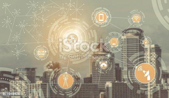 istock Smart city and wireless communication network. 971949426
