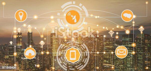 999852584 istock photo Smart city and wireless communication network. 971949436