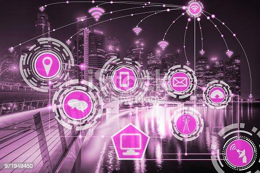 istock Smart city and wireless communication network. 971949450