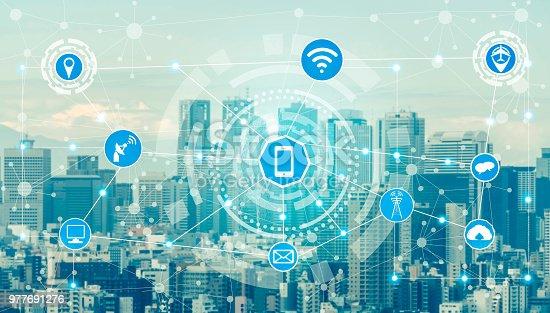 istock Smart city and wireless communication network. 977691276