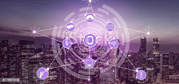 999852584 istock photo Smart city and wireless communication network. 977691316
