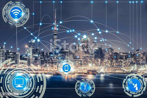 999852584 istock photo Smart city and wireless communication network. 977691338