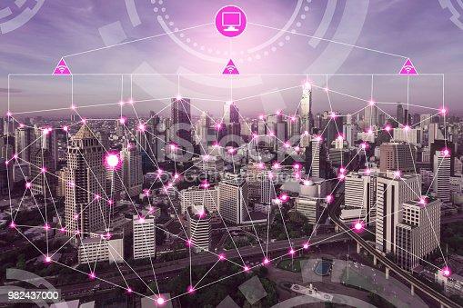977691340 istock photo Smart city and wireless communication network. 982437000