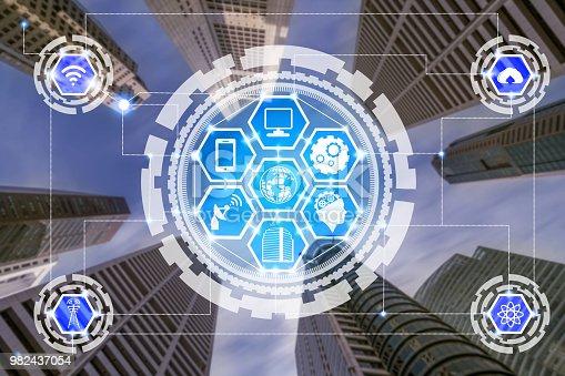 istock Smart city and wireless communication network. 982437054