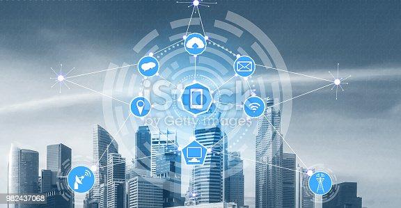 istock Smart city and wireless communication network. 982437068