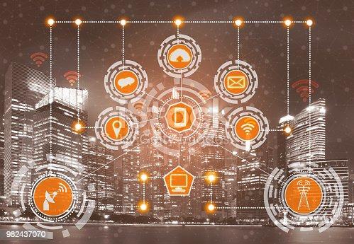istock Smart city and wireless communication network. 982437070