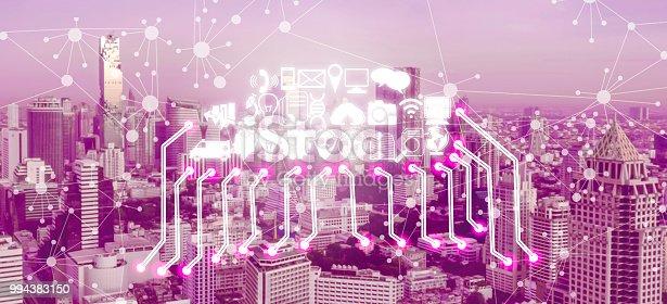 999852584 istock photo Smart city and wireless communication network. 994383150