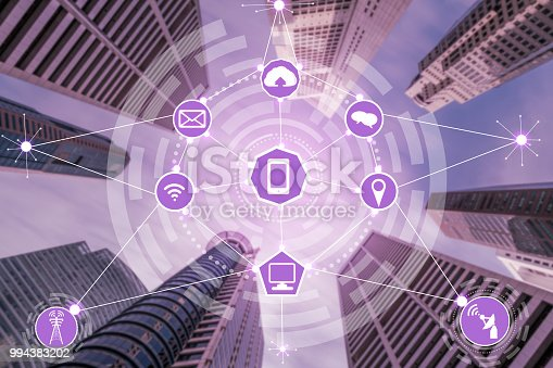 999852584 istock photo Smart city and wireless communication network. 994383202