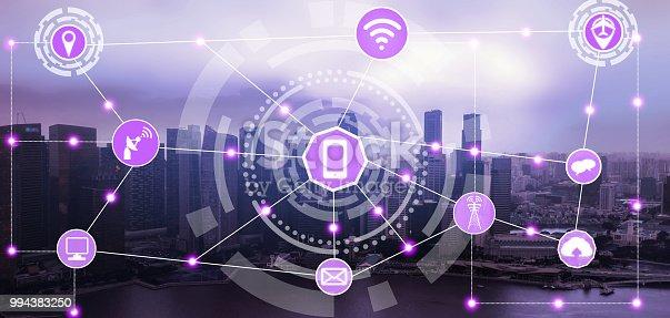 999852584 istock photo Smart city and wireless communication network. 994383250