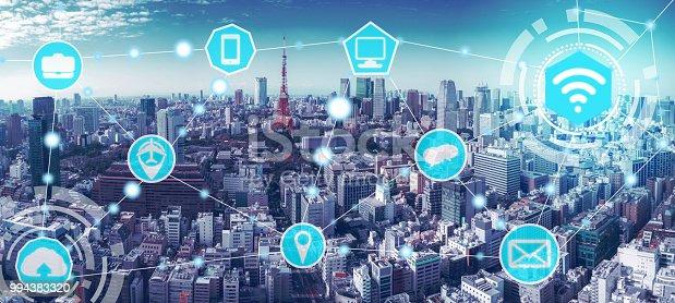 999852584 istock photo Smart city and wireless communication network. 994383320