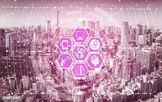 999852584 istock photo Smart city and wireless communication network. 999852564