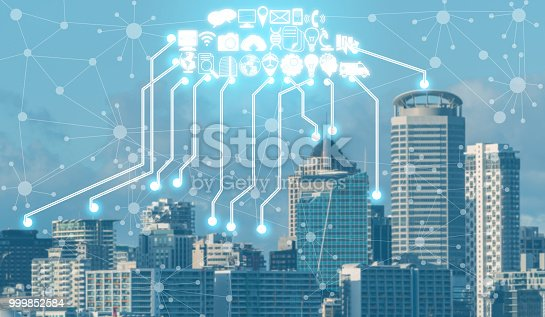 istock Smart city and wireless communication network. 999852584