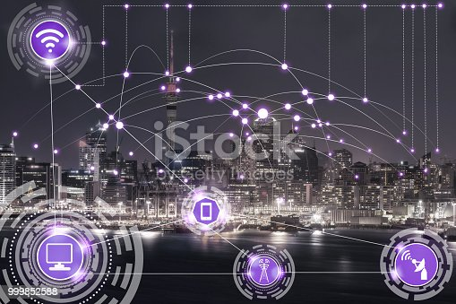 istock Smart city and wireless communication network. 999852588