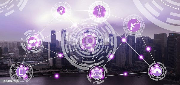 999852584 istock photo Smart city and wireless communication network. 999852590