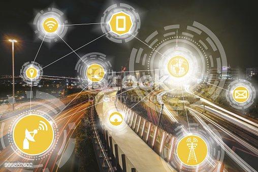 istock Smart city and wireless communication network. 999852602