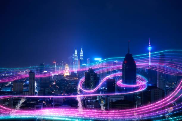 Smart city big data connection technology concept . stock photo