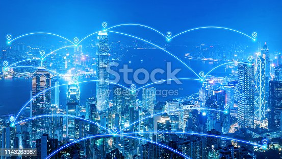 istock Smart city communication network and internet of things for smart city and big data concept. 1143263987