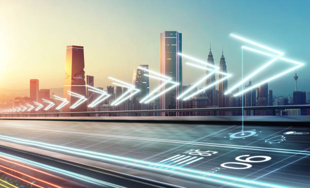 Smart city commute transportation network system concept . stock photo