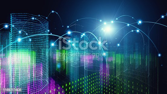 istock Smart city concept. Communication network. 5G. 1169711605