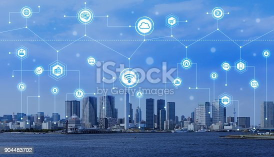 904420364 istock photo Smart city concept. IoT(Internet of Things). ICT(Information Communication Technology). 904483702