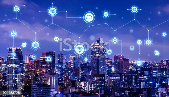 istock Smart city concept. IoT(Internet of Things). ICT(Information Communication Technology). 904483728