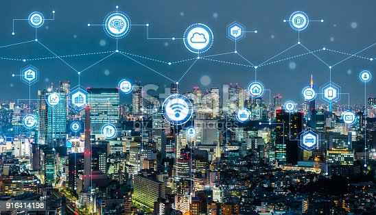 691790416istockphoto Smart city concept. IoT(Internet of Things). ICT(Information Communication Technology). 916414198