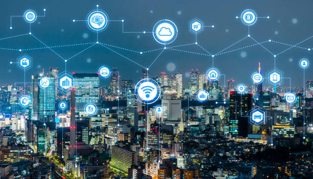 Smart city concept. IoT(Internet of Things). ICT(Information Communication Technology). stock photo